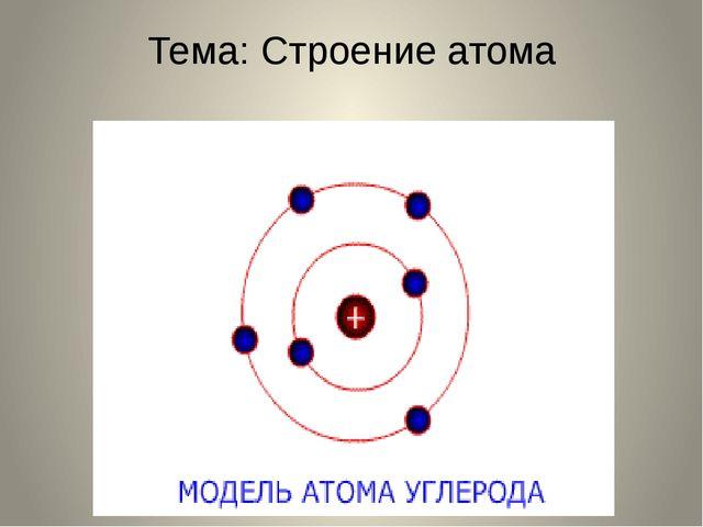 Тема: Строение атома