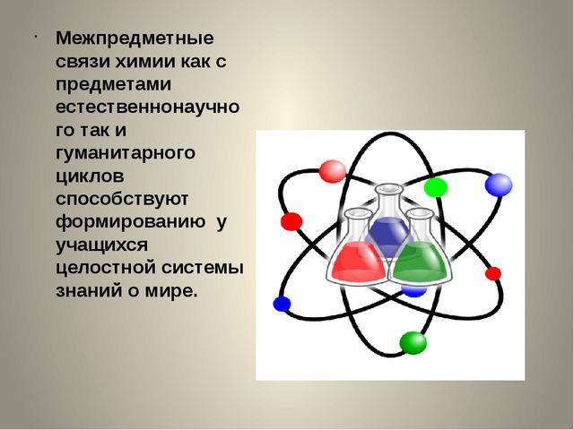 Межпредметные связи химии как с предметами естественнонаучного так и гуманита...