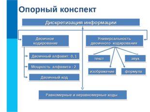 Дискретизация информации Универсальность двоичного кодирования Равномерные и