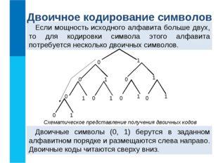 Если мощность исходного алфавита больше двух, то для кодировки символа этого