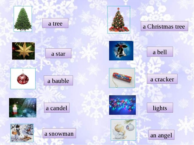 a tree a star a bauble a candel a snowman a Christmas tree a bell a cracker l...