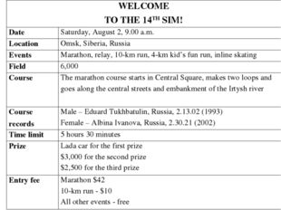 WELCOME TO THE 14TH SIM!	 Date 	Saturday, August 2, 9.00 a.m. Location	Omsk,