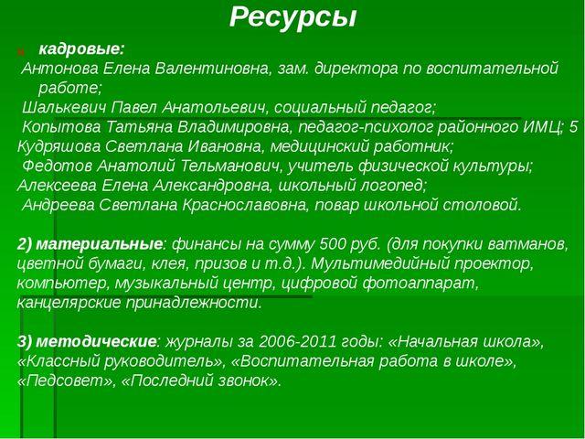 кадровые: Антонова Елена Валентиновна, зам. директора по воспитательной работ...