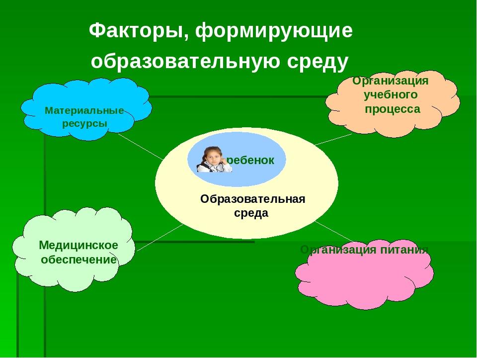 Факторы, формирующие образовательную среду Материальные ресурсы Медицинское о...