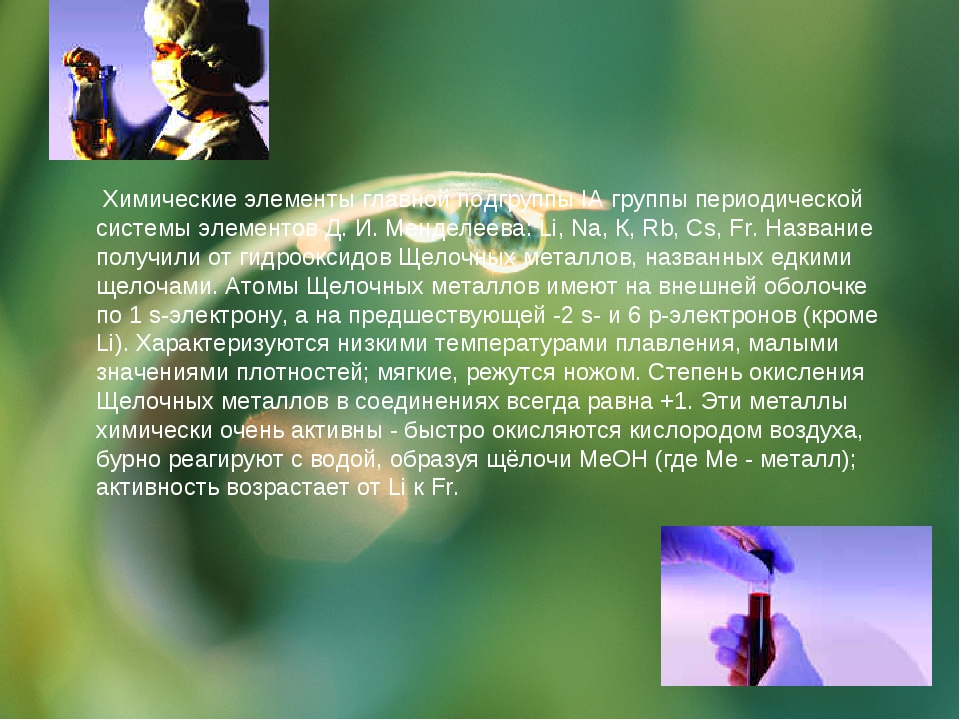 Химические элементы главной подгруппы IА группы периодической системы элемен...