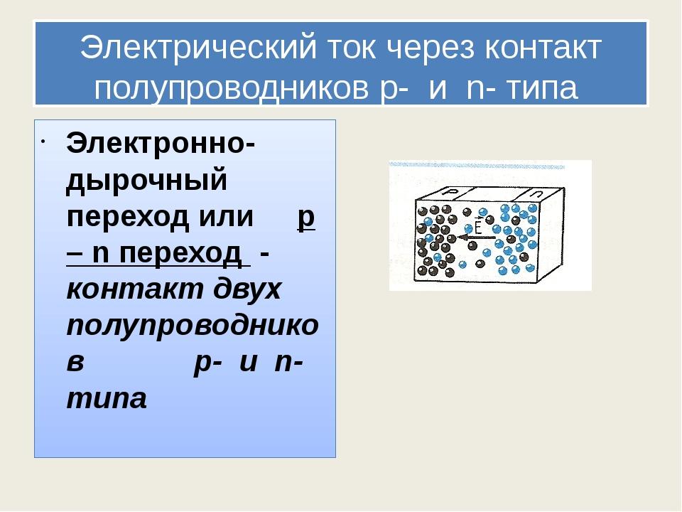 Электрический ток через контакт полупроводников p- и n- типа Электронно-дыроч...