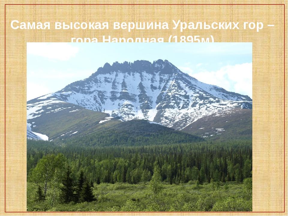 Самая высокая вершина Уральских гор – гора Народная (1895м)
