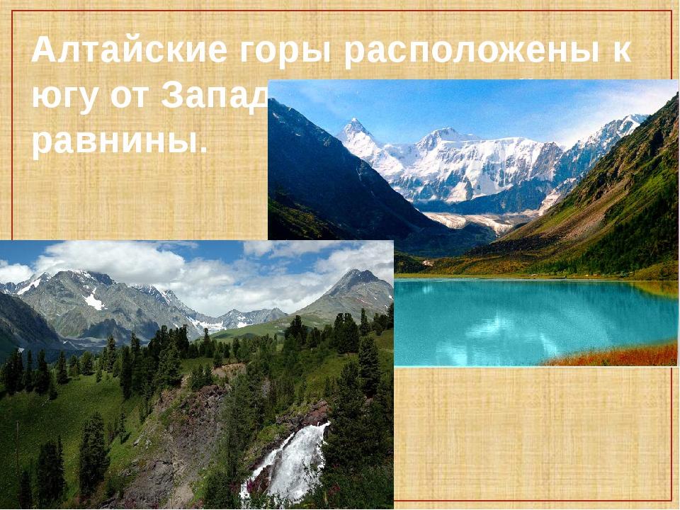 Алтайские горы расположены к югу от Западно-Сибирской равнины.