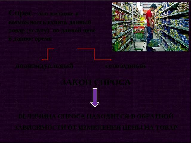 Спрос – это желание и возможность купить данный товар (услугу) по данной цене...