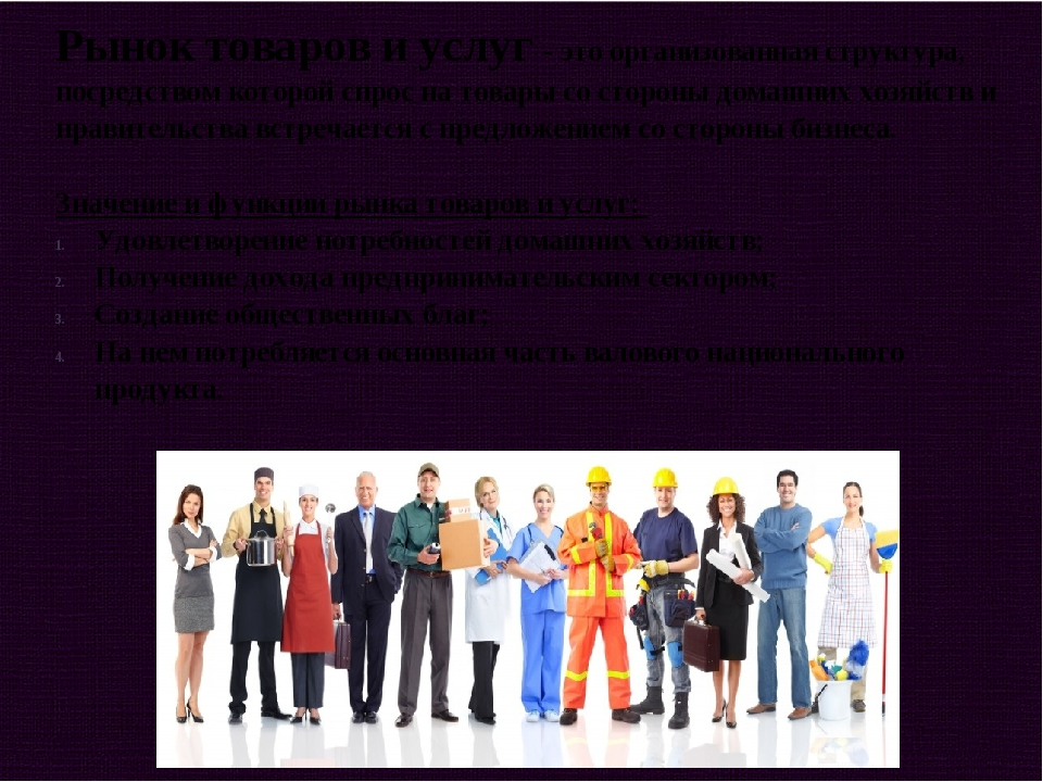 Рынок товаров и услуг - это организованная структура, посредством которой спр...
