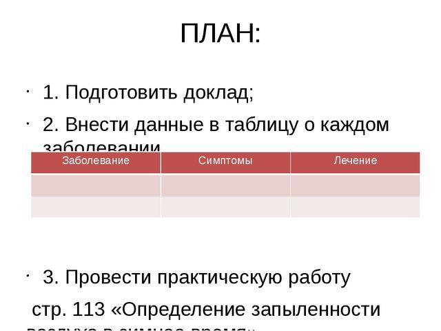 ПЛАН: 1. Подготовить доклад; 2. Внести данные в таблицу о каждом заболевании...