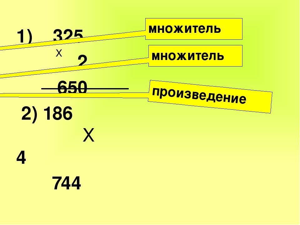 1) 325 2 650 2) 186 Х 4 744 Х множитель множитель произведение