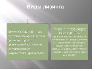Виды лизинга ПРЯМОЙ ЛИЗИНГ - сам изготовитель (арендодатель) организует прока