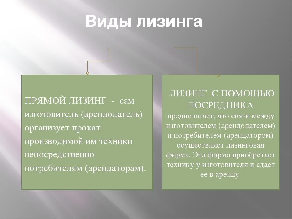 Виды лизинга ПРЯМОЙ ЛИЗИНГ - сам изготовитель (арендодатель) организует прока...