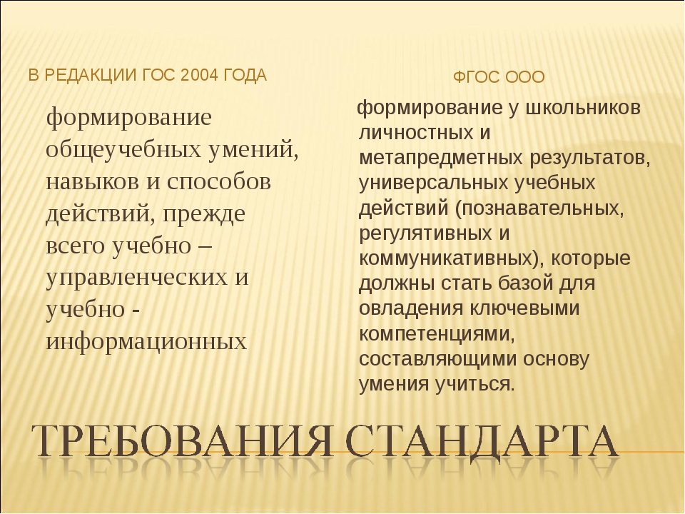 В РЕДАКЦИИ ГОС 2004 ГОДА ФГОС ООО формирование общеучебных умений, навыков и...