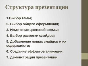 Структура презентации 1.Выбор темы; 2. Выбор общего оформления; 3. Изменение