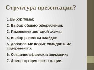 Структура презентации? 1.Выбор темы; 2. Выбор общего оформления; 3. Изменение