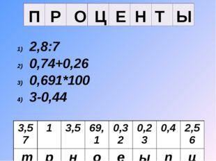 Ы Т Н Е Ц О Р П 2,8:7 0,74+0,26 0,691*100 3-0,44 8*0,04 0,7*5 0,57+3 23:100 3
