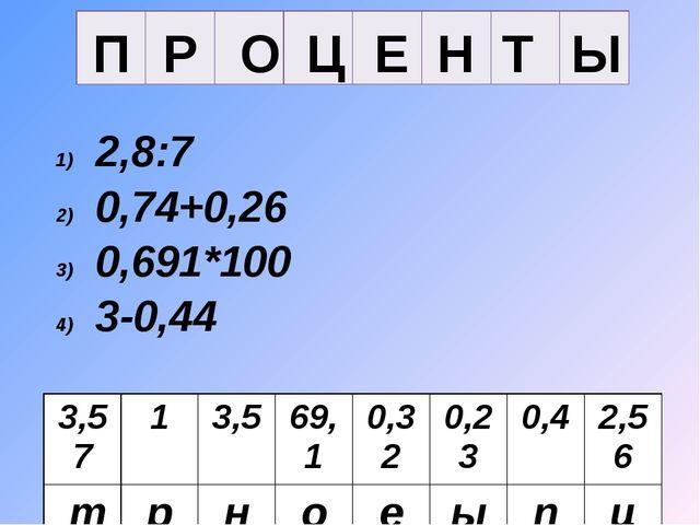 Ы Т Н Е Ц О Р П 2,8:7 0,74+0,26 0,691*100 3-0,44 8*0,04 0,7*5 0,57+3 23:100 3...