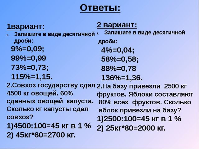Ответы: 2 вариант: Запишите в виде десятичной дроби: 4%=0,04; 58%=0,58; 88%=0...