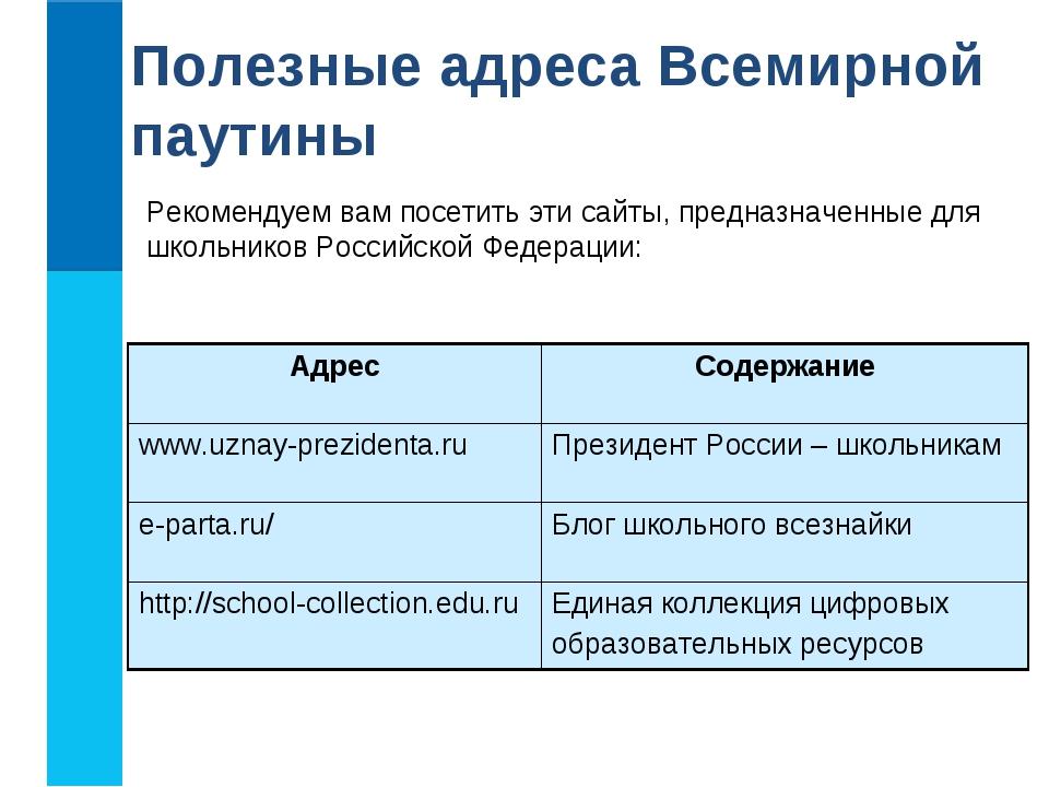 Полезные адреса Всемирной паутины Рекомендуем вам посетить эти сайты, предназ...
