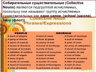 Собирательные существительные (Collective Nouns) являются подгруппой исчисляе