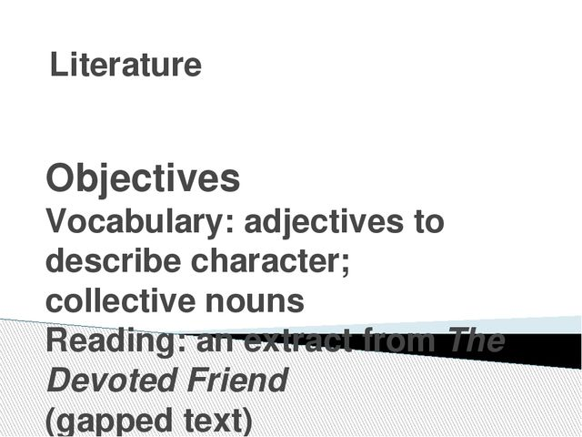 Literature Objectives Vocabulary: adjectives to describe character; collectiv...
