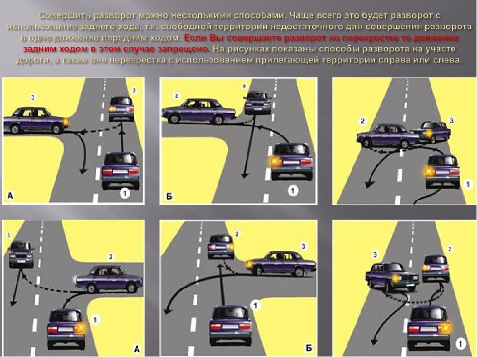 Способы разворота на перекрестках