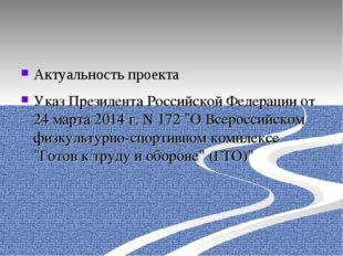 Актуальность проекта Указ Президента Российской Федерации от 24 марта 2014 г.