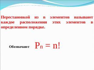Перестановкой из n элементов называют каждое расположения этих элементов в оп