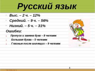 Русский язык Выс. – 2 ч. – 12% Средний. – 9 ч. – 56% Низкий. – 5 ч. – 31% Оши
