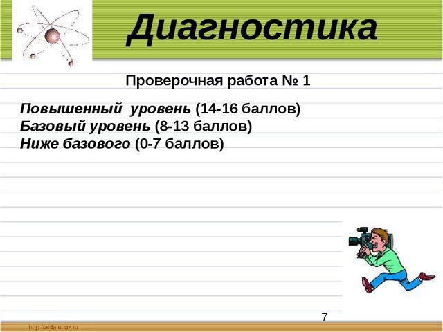 Повышенный уровень (14-16 баллов) Базовый уровень (8-13 баллов) Ниже базовог...