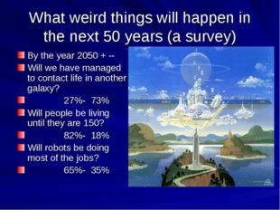 What weird things will happen in the next 50 years (a survey) By the year 205