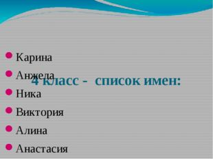 4 класс - список имен: Карина Анжела Ника Виктория Алина Анастасия Ангелина