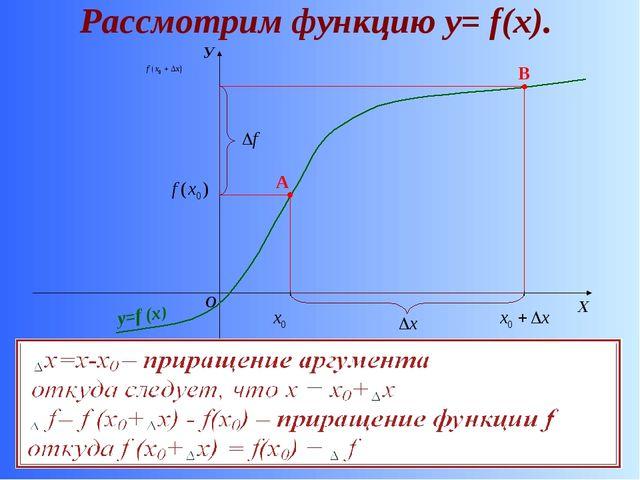 Рассмотрим функцию у= f(x). О Х У y=f (x) A B