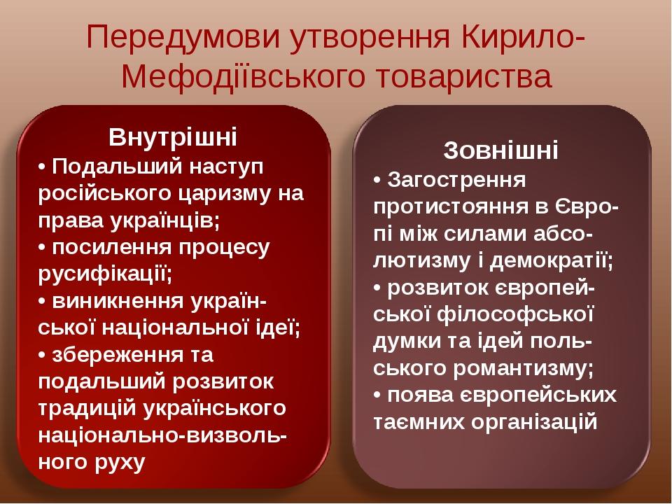 Передумови утворення Кирило-Мефодіївського товариства