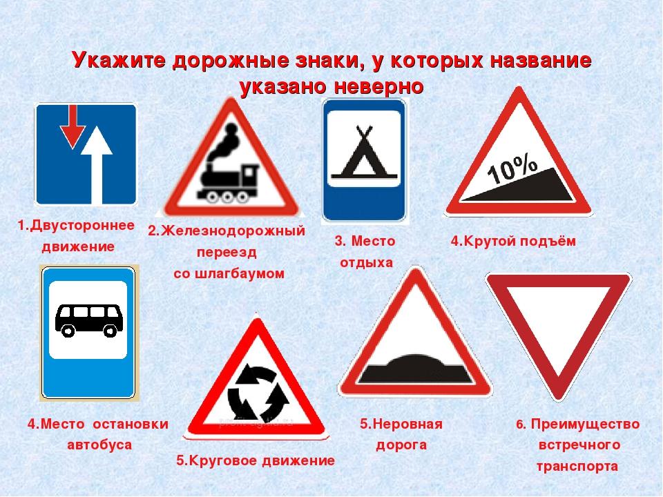 Дорожные знаки для детей картинки с обозначением