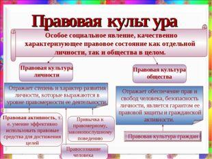 Правовая культура Особое социальное явление, качественно характеризующее прав