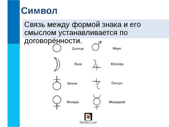 Связь между формой знака и его смыслом устанавливается по договорённости. Сим...