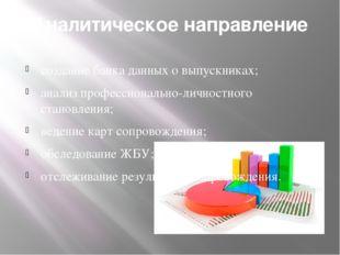 Аналитическое направление создание банка данных о выпускниках; анализ професс