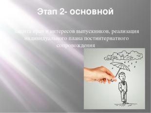 Этап 2- основной защита прав и интересов выпускников, реализация индивидуальн