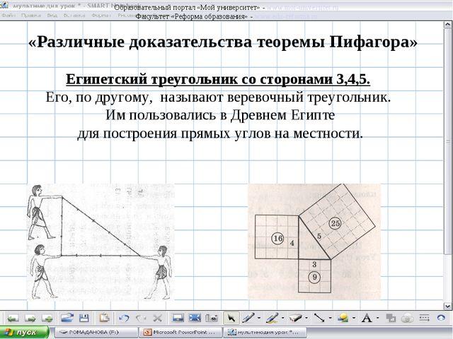 «Различные доказательства теоремы Пифагора» Египетский треугольник со сторона...