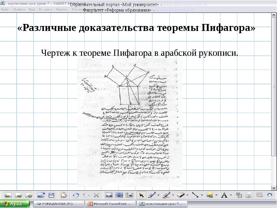 «Различные доказательства теоремы Пифагора» Чертеж к теореме Пифагора в арабс...