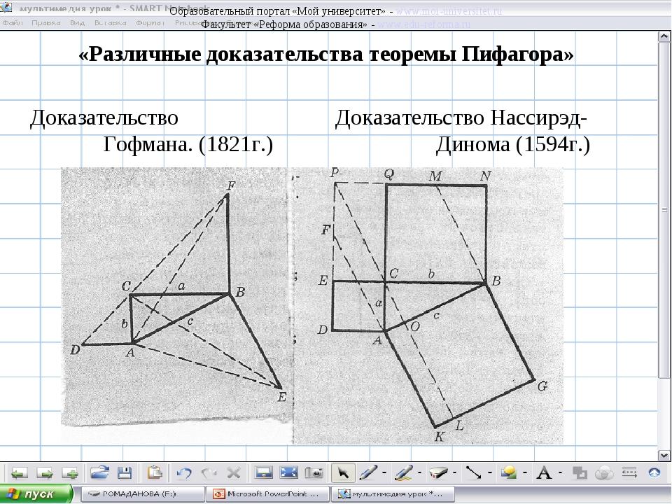 «Различные доказательства теоремы Пифагора» Доказательство Доказательство Нас...
