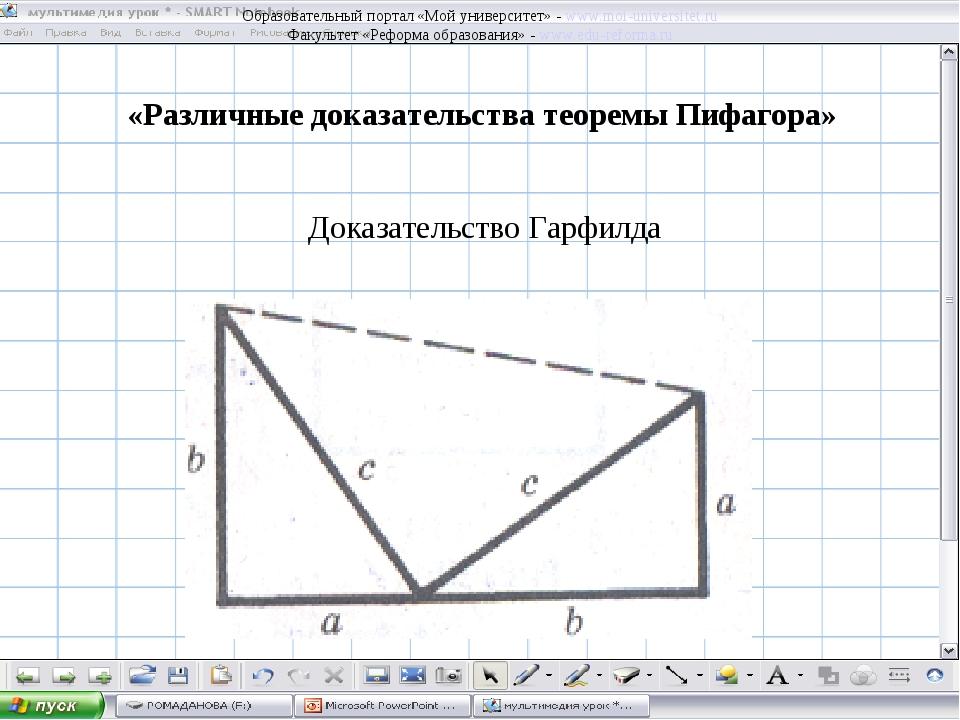 Доказательство Гарфилда «Различные доказательства теоремы Пифагора» Образоват...