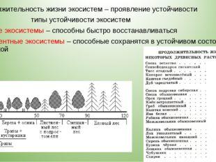 Продолжительность жизни экосистем – проявление устойчивости типы устойчивости