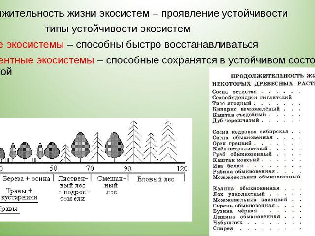 Продолжительность жизни экосистем – проявление устойчивости типы устойчивости...