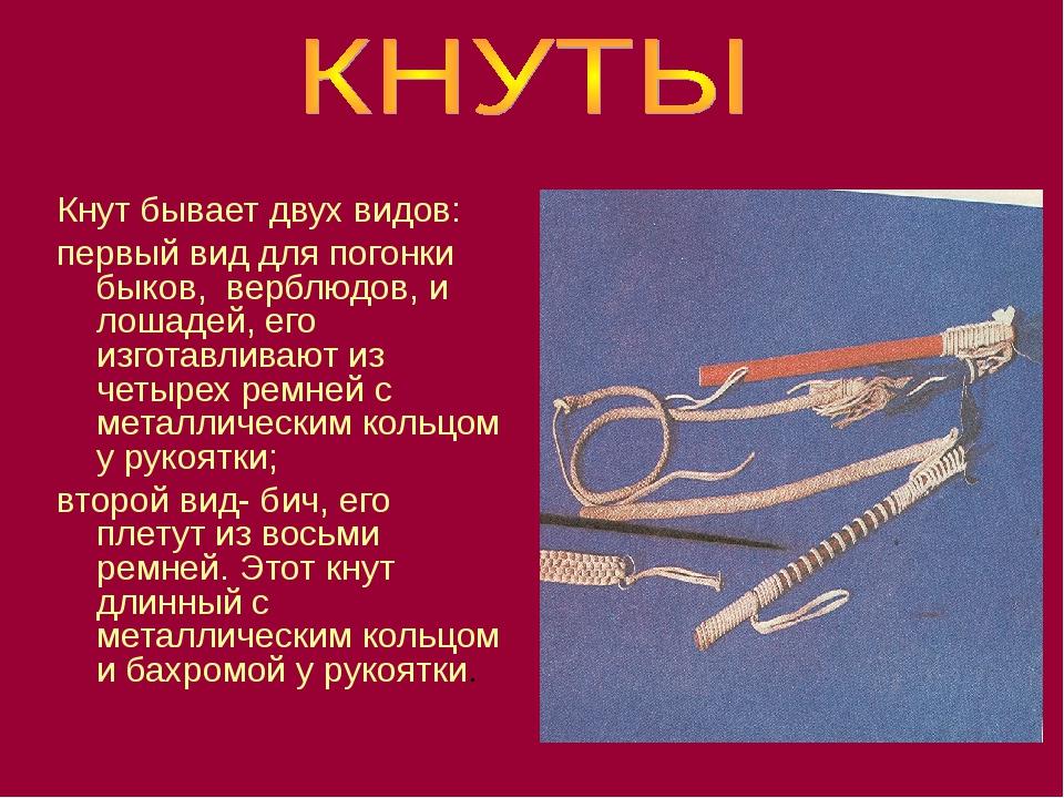 Кнут бывает двух видов: первый вид для погонки быков, верблюдов, и лошадей, е...
