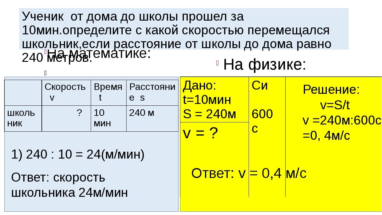 На математике: На физике: Ученик от дома до школы прошел за 10мин.определите...