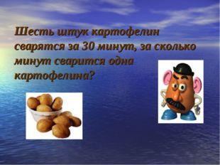 Шесть штук картофелин сварятся за 30 минут, за сколько минут сварится одна к